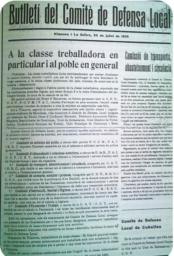 El primer ejemplar del 'Butlletí del Comitè de Defensa Local',vilanova i la geltrú, julio 1936