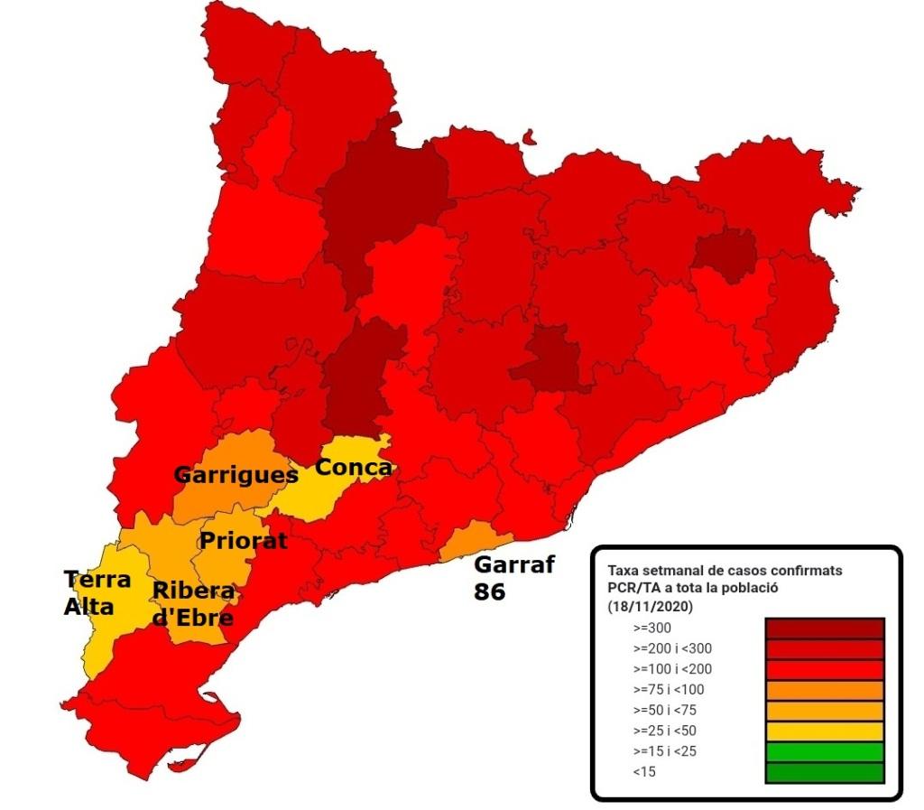 Incidencia coronavirus por comarcas, Garraf, Villanueva y Geltrú