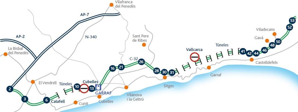 Mapa autopista C-32 desde Castelldefels hasta Vilanova i la Geltrú